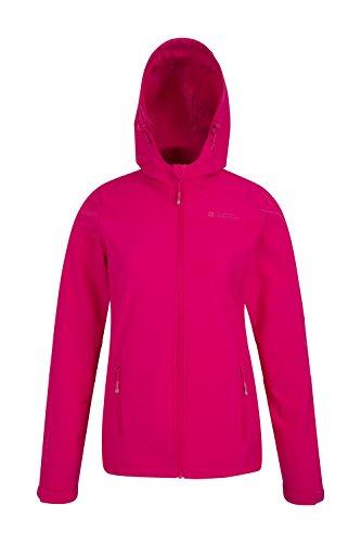 Mountain Warehouse Exodus Damen wasserabweisende Softshelljacke Mantel Übergangsjacke Regenjacke mit Kapuze warm winddicht atmungsaktiv Wandern Camping outdoor Rosa