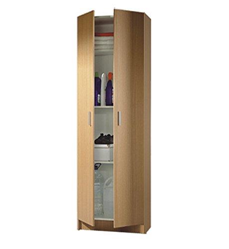 Armario multiusos auxiliar con estantes para almacenamiento extra en color roble 59x180 cm