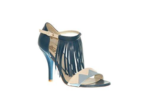 Sandelholz Ripa High Heels, offen in Spitze, mit Fransen weiß/babyblau