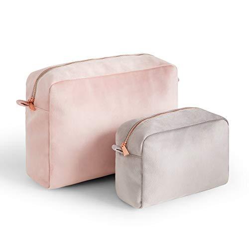 Beautify Set di 2 Trousse Velluto - Trousse per Make-Up - Viaggio - Portatile - Vanity - Bellezza - Articoli da Toeletta - Rosa e Grigio - Con Cerniera - Regalo