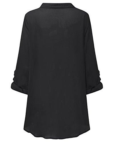 StyleDome Femme Sexy Chemisier Col V Manches Longues Irrégulier Lâche Casual Tunique Blouse Shirt Noir