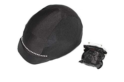 KLES Class Reithelmüberzug Design Streifen Strass Equestrian Hat Cover, Schwarz