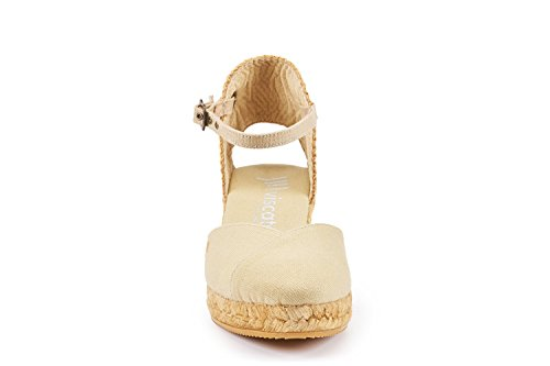 VISCATA Pubol Ankle-Strap, Closed Toe, Classic Espadrilles with 2-inch Heel Made in Spain Beige