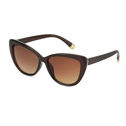 Pdnlds Damen Mode Cat Eye Sonnenbrille Polarisiert und 100% UVA UVB Schutz (Braun)