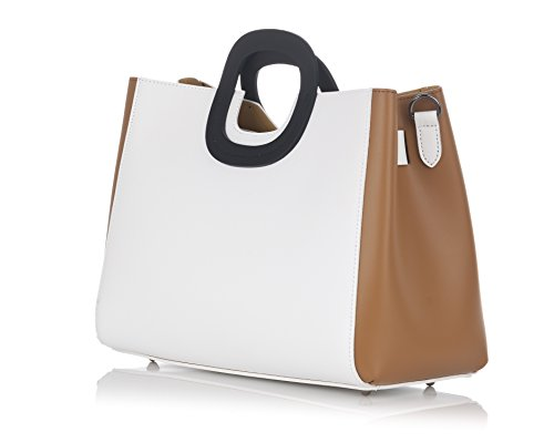 Laura Moretti - Borsa in pelle Bicolor con borsa interna estraibile White - Leather