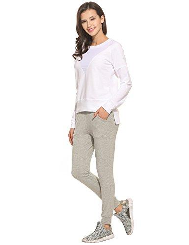 Coorun Damen Pullover Casual Long Sleeve asymmetrische Saum Patchwork Sweatshirts Weiß