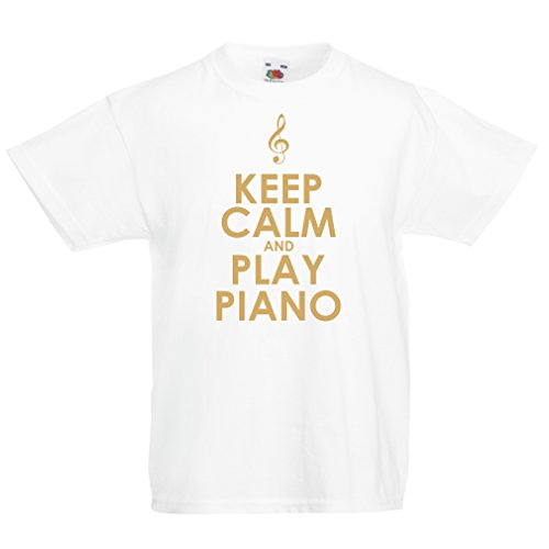 Kinder T-Shirt Klavier - Musiker zitiert (14-15 years Weiß Gold)