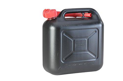 hünersdorff Kraftstoff-Kanister STANDARD 10l für Benzin, Diesel und andere Gefahrgüter, UN-Zulassung, made in Germany, TÜV-geprüfter Produktion, schwarz (Weber-werkzeug)