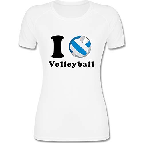 Shirtracer Volleyball - I Love Volleyball - M - Weiß - F355 - atmungsaktives Funktionsshirt für Damen