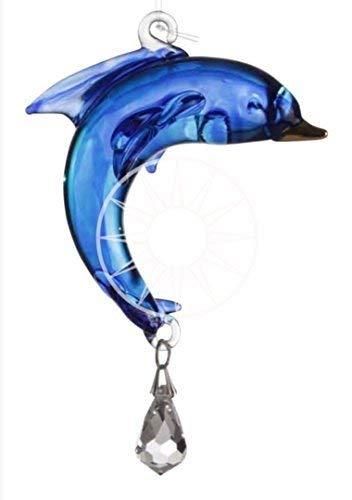 Handgefertigt Fantasy Glass Suncatcher Geschenk Kristall Delfin blau Saphir -