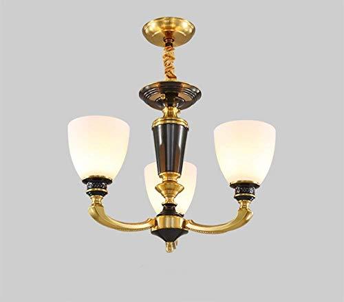 Antike Kupfer-drei-licht (EI Wohnzimmer Esszimmer Schlafzimmer Große dekorative Beleuchtung eines europäischen Stils voll von Kupfer American Home zu Atmosphäre Rustikale Antik 3 Kopf (50 * 43Cm) LED Birne warmes Licht)