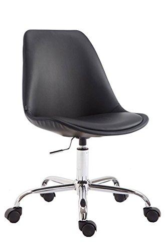 SIKALO Rollhocker Arbeitshocker höhenverstellbar und mit Lehne, Sitzfläche bequem gepolstert, Material Kunstleder, stabiles Gestell aus Metall in Chromoptik