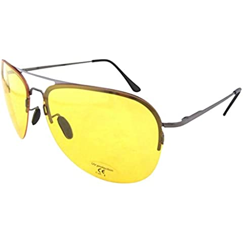 EyekepperAviator metà-bordo in acciaio inox telaio molla porta a battente Drving occhiali da sole