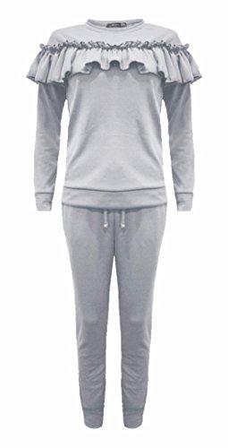 FK Styles - Manches Longues Détail Frill Combinaison Loungewear Set - Femmes Gris