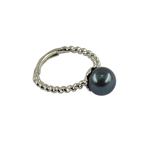 Dolity 1 Stück Damen-Ring Sterling Silber Süßwasser-Muschelperlen- Mode Schmuck Geschenk - Nachtblau (Sterling Silber 8mm Eheringe)