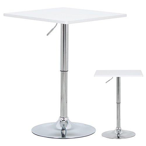 WOLTU BT03ws-a Bartisch Bistrotisch , Partytisch , Design Tisch mit Trompetenfuß , drehbare Tischplatte aus robustem MDF , höhenverstellbar , Dekor , Weiß