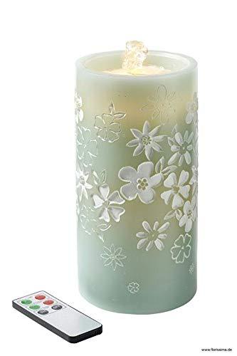 Hochwertige LED Kerze mit Springbrunnen - Timer & Fernbedienung - Sommerliches Blumenmuster - Dekorativer Zimmerbrunnen/Tischbrunnen/Brunnen (Höhe 20cm - Ø 10cm, Mint)