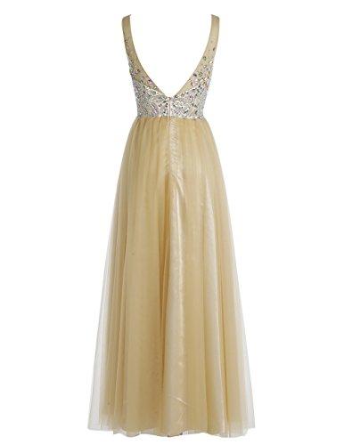 Bbonlinedress Robe de cérémonie Robe de bal en tulle emperlée col en V longueur ras du sol Lilas