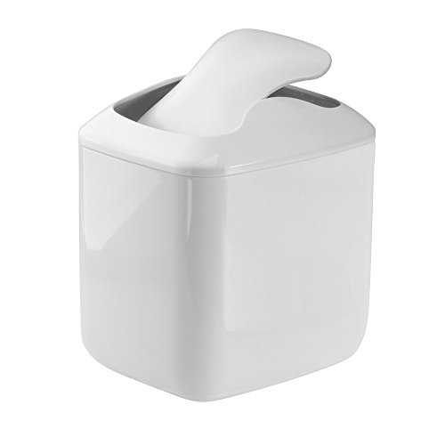 Price comparison product image mDesign Wastebasket Trash Can for Bathroom Vanity Countertops - White