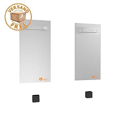 Spiegel Aufhänger Set Groß inkl. 2 Spiegelaufhänger - Spiegelhalter und 2 Abstandshalter von Hang-it von Hang-it - Lampenhans.de