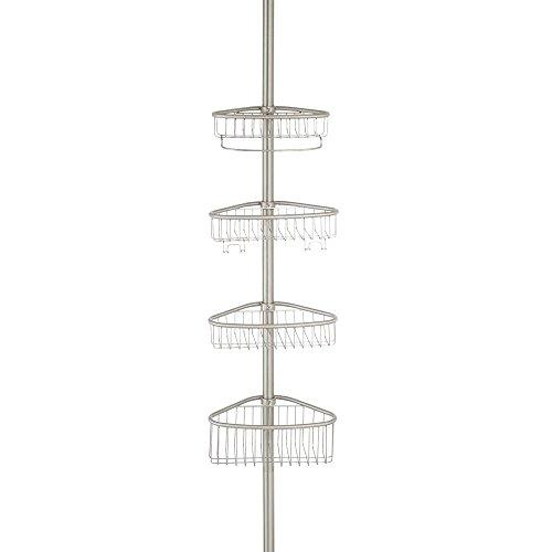 InterDesign - Forma - Constant Tension® - Organizador para cubículo de ducha; para champú, acondicionador, jabón - Acero inoxidable cepillado