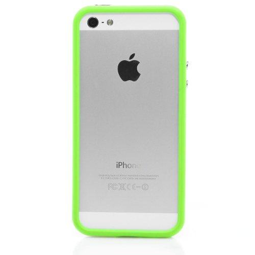 Coque de protection pour iPhone 5 avec coque en silicone et tPU :  vert/blanc