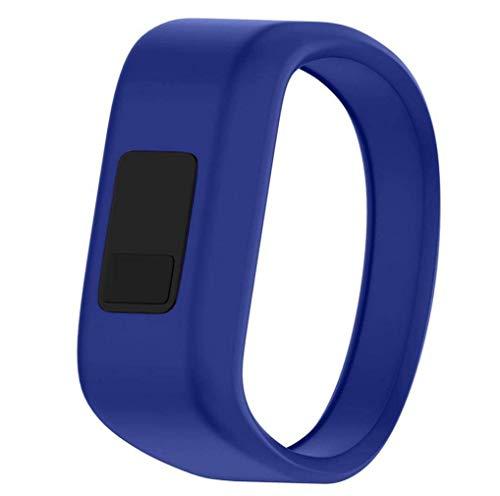 Für Garmin vivofit JR Gurtband,Moeavan Silikon-Sportersatzbänder Kleines großes Zubehörarmband für Garmin vivofit JR Fitness-Uhr (Dunkelblau, Gurt groß)