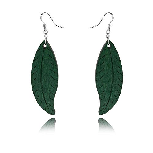 HIWSSH Ohrring 1Pair Indian Africa Woman Ohrrings Eardrop For Women Jewelry Colorful Leaf Wood Long Dangle Earings E1310 green -
