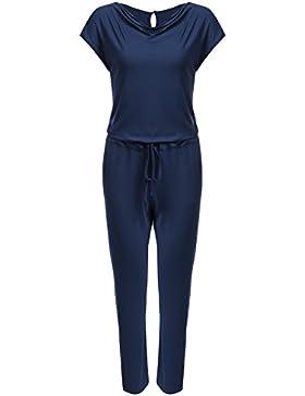 Meaneor Damen Elegant Jumpsuit Wasserfallkragen Jumpsuit Overall Hosenanzug Einteiler Mit Elastisch Bund Stretch