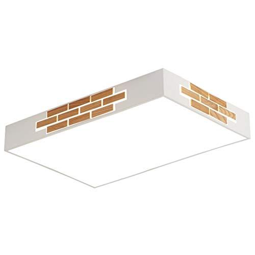 30W, 72W, LED Zwei-Farben-Licht Nordic Wood Kreative Stichsäge Einfache Moderne Wohnzimmerlampe, Rechteckige Acrylatmosphäre Startseite High-End-Deckenleuchte (größe : 80X60X8CM)