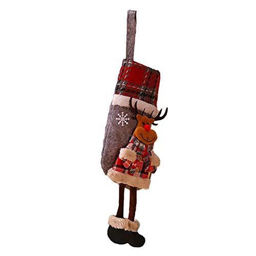 Irahdbowen decorazioni natalizie calze a quadri calza di babbo natale stampa cartoon classica tela da imballaggio ornamenti per camino regali di natale, per la casa decorazione dell'albero di cute
