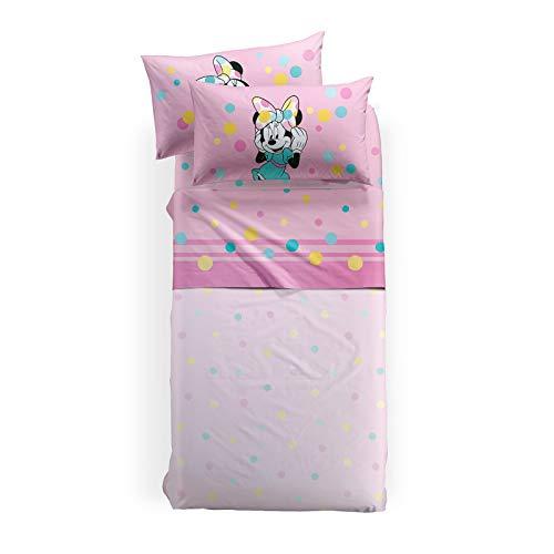 Caleffi completo lenzuola letto singolo minnie colors 100% cotone
