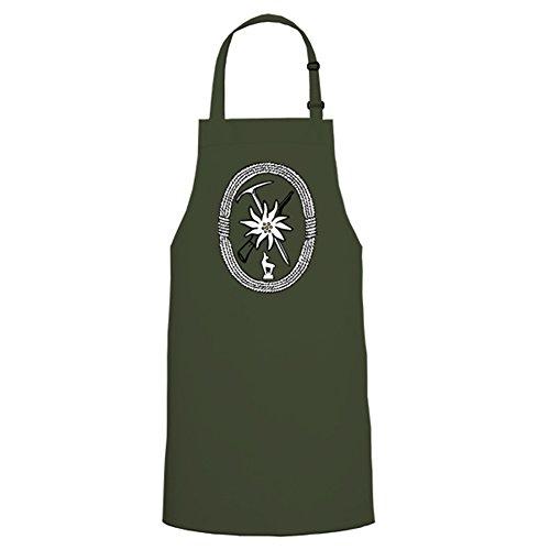 Copytec 5425 Tablier de barbecue Motif emblème troupes de montagne Bundeswehr Armée nationale de la République fédérale d'Allemagne Infanterie Insigne - vert - Taille unique