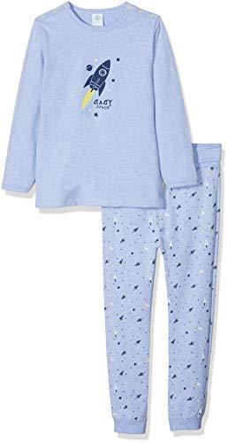 Sanetta Baby-Jungen Pyjama Long Zweiteiliger Schlafanzug, Blau (Oxford Mel 50252.0), 92