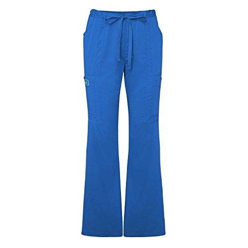Adar Indulgence Womens Jr Fit Low Rise Boot Cut Patch Pocket Scrub Pants - 4104 - Royal Blue - S (Royal Blue Scrub Hose)