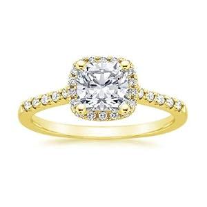 Addamas 1,20 Karat Ring-Kissenschliff Diamanten Hochzeit Verlobung Frauen massiv Gelbgold