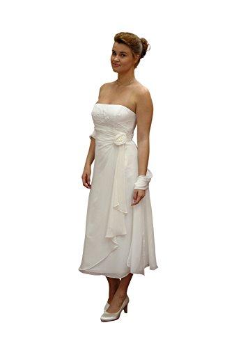 Standesamt Brautkleid, ivory 34 (Gefüttert, Neckholder-kleid Perlen)