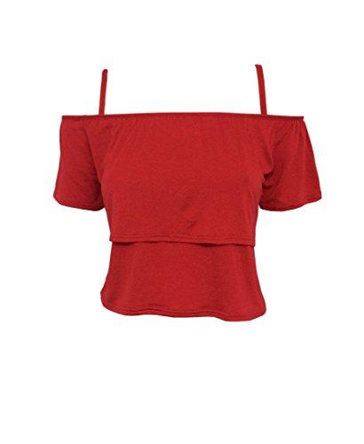 MIXLOT Frauen-Doppelschicht aus der Schulter kurz top Rot