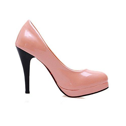 VogueZone009 Damen Lackleder Rund Zehe Stiletto Ziehen Auf Rein Pumps Schuhe Pink