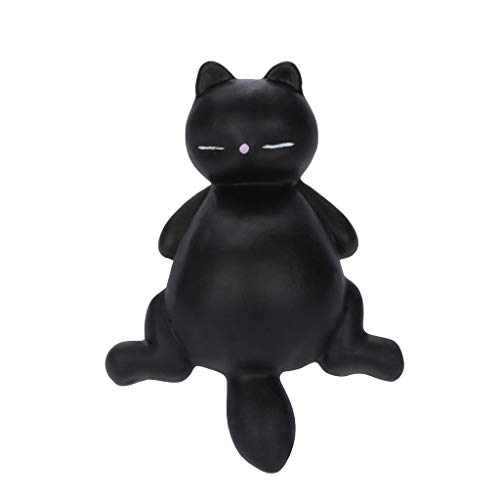 Dkings Squishy Langsame Aufsteigende Spielzeuge,Super Soft Kawaii Adorable Mochi Faule Katze Kitty Duft Stress Relief Spielzeug Kinder Erwachsene (Schwarz)