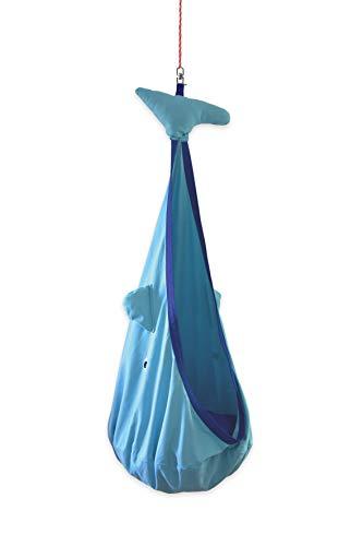 snuutje Hängehöhle für Kinder Willo der Wal (Schadstoff geprüft und GS-Zertifiziert, aus 100{bf448d966da9f8f8b3ab7411f65dcb3216549d23196e2b0796c390fa94008871} Baumwolle, hält bis 80 kg, mit Zubehör) blau