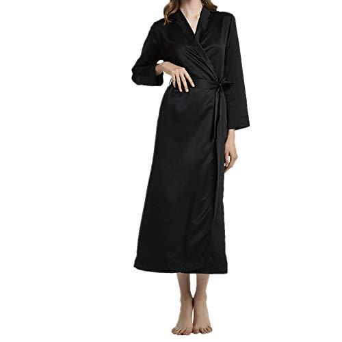 Damen Satin Langer Bademantel, V-Ausschnitt Spitze, Spitze, Gürtel und Schnalle Kleid - Weiche und Bequeme Braut Pyjamas (M bis XXL)SchwarzXL (Gürtel Who Dr)