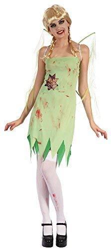 Fancy Me Damen Sexy Toter Zombie Grün Pixie Fee + Wings Halloween Märchen Kostüm Kleid Outfit UK 10-12-14