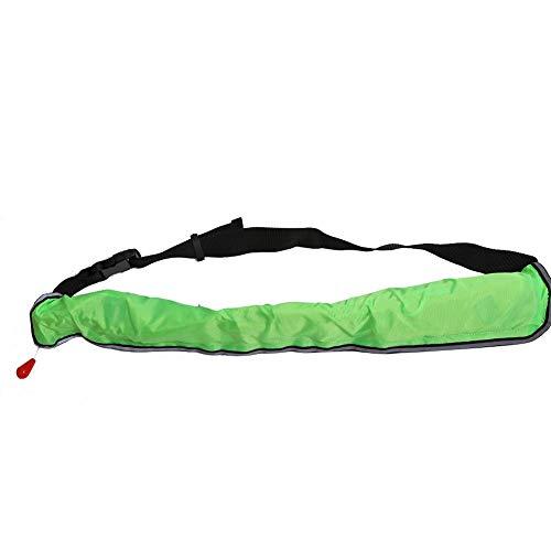 REALM-ARK Aufblasbarer Schwimmwesten-Sicherheitsgürtel mit reflektierenden Bändern und verstellbarem Trageriemen zum schnellen Aufblasen(Grün) -
