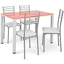 Conjunto de mesa de cocina Naranja + 4 sillas basik blancas.
