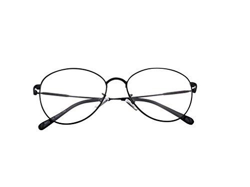 XYAS Full metal woman man unisex glasses frames korean style Fashion 6077 (Black)