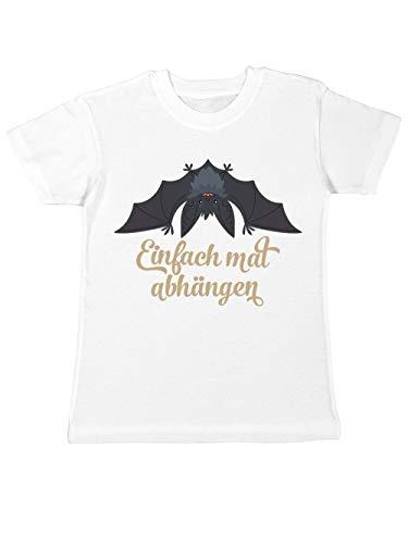 (clothinx Kinder T-Shirt Halloween Grusel Fledermaus Einfach Mal Abhängen Weiß Gr. 116)