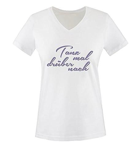 Comedy Shirts - Tanz mal drüber nach - Damen V-Neck T-Shirt - Weiss / Violett Gr. XXL (Beste Tv-preise Nach Weihnachten)