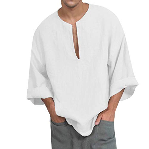 DNOQN Oversize T Shirt Herren Cashmere Pullover Slim Fit Bluse Mode Baggy für Herren Beiläufig Solide Lange Ärmel V-Ausschnitt T-Shirts Tops Blusen XL