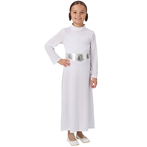 in Leia Star Wars Kinder-Kostüm Weiß-Silber 128/140 (9-10 Jahre) (Einfach Prinzessin Leia Kostüm)